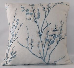 """LAURA ASHLEY PUSSY WILLOW DUCK EGG CUSHION COVER 17 X 17/"""" HANDMADE"""
