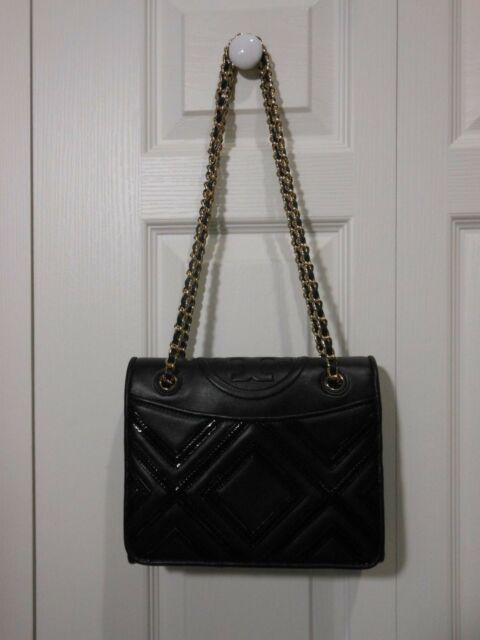2187f183b28 100 Authentic Tory Burch Fleming Geo-leather Medium Bag in Black for ...