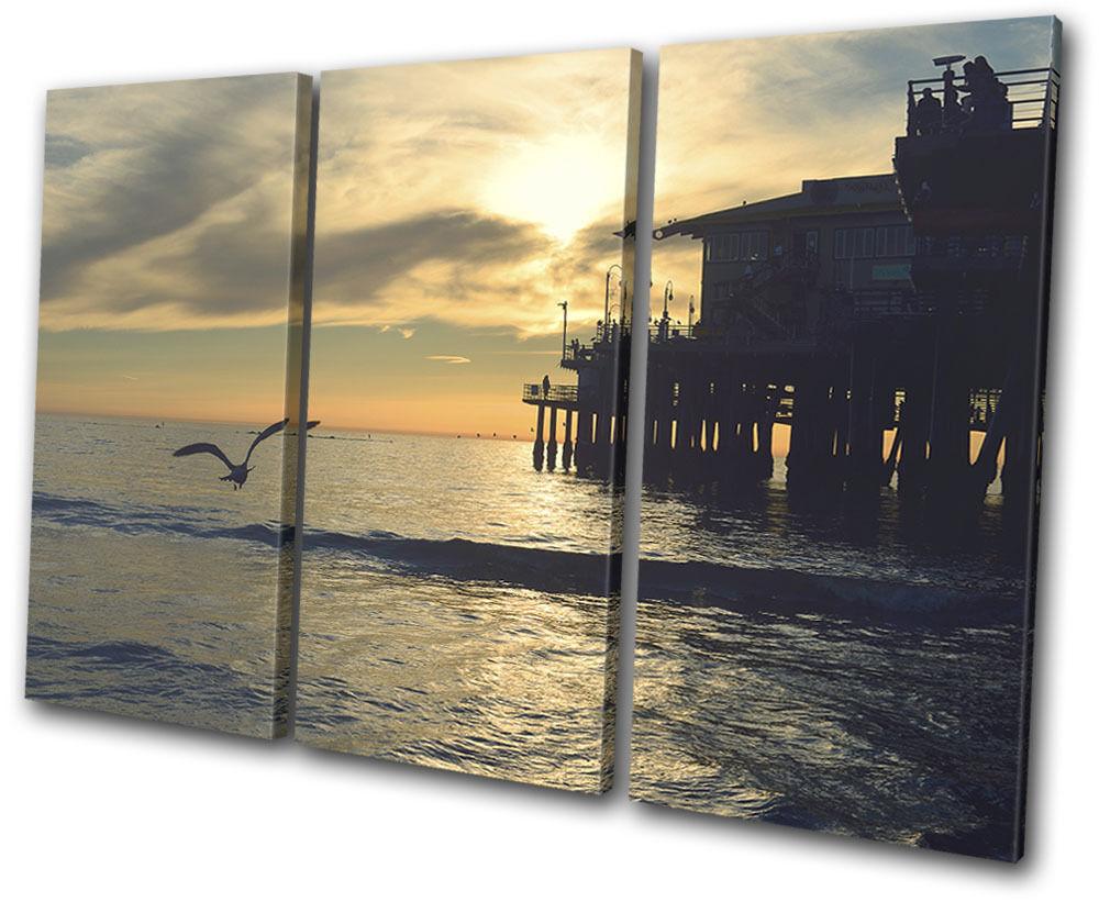 Beach Sunset Pier Landscapes TREBLE TELA parete arte foto foto foto stampa 632c83
