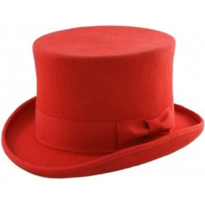 2a1a2d55239 Image is loading Quality-Red-Wool-Felt-Top-Hat-satin-lined-