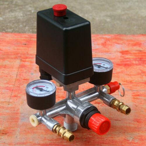 Druckregler Druckwächter mit Druckschalter für Druckluft Kompressor 2 Anzeigen ★