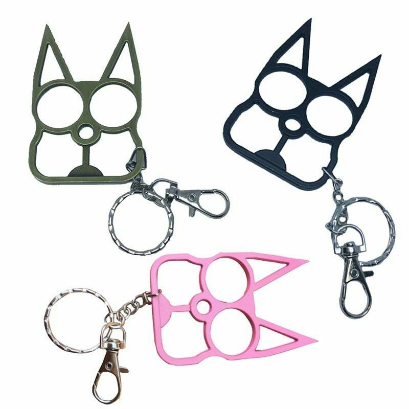 Black Metal Cat Key Chain Personal Protection Self Defense