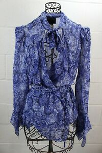 ROBERTO-CAVALLI-Class-Blue-Floral-Flower-Roses-Print-Neck-Tie-Bow-Silk-Top-50-16