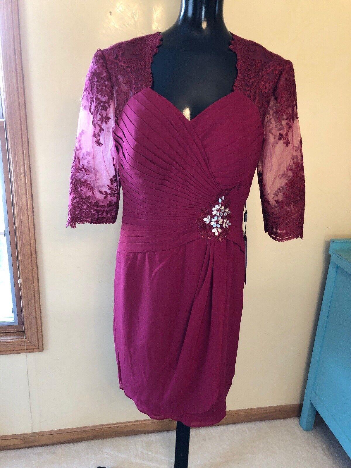 JJ's House Women's Short Sleeve Beaded Formal Burgundy Dress Gown 38 Bust