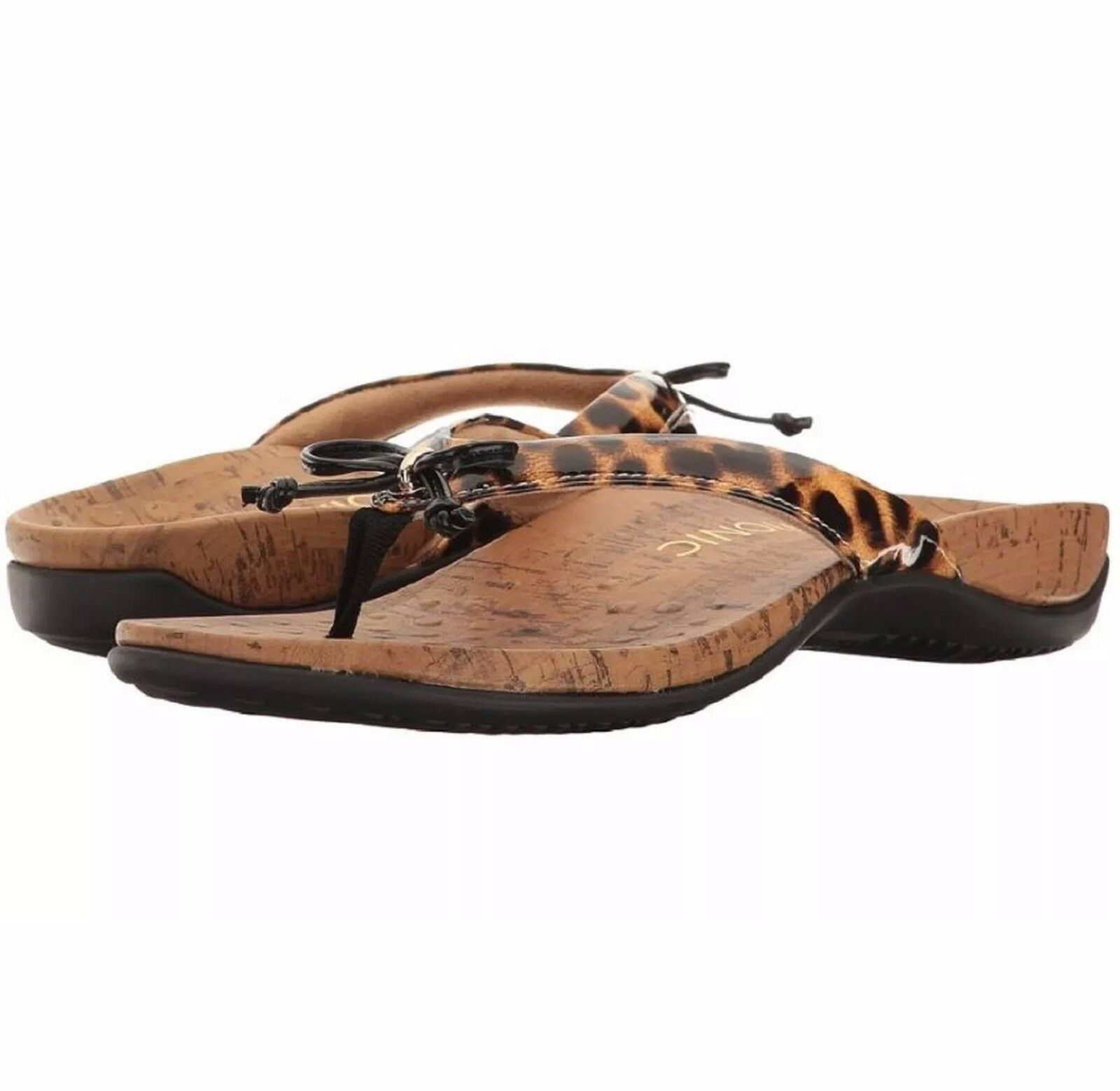 Vionic W Orthaheel REST CASSIE Thong Sandals W Bow Detail LEOPARD PRINT 7W NIB