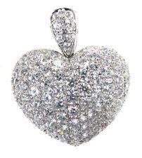 1.30 CT REAL ROUND DIAMOND DESIGNER HEART PENDANT IN 18K WHITE GOLD HALLMARKED