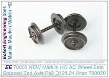 EE 70002 NEW Marklin HO AC Wheel Sets 700020 Stepped End Axle Pk2 D12/L24.8mm