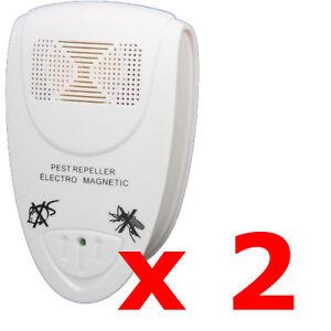 2 x electronic ue plug in ultrasonique rongeur nuisible mouche répulsif souris rat moustique  </span>