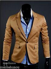 New Stylish Men's Casual Slim fit One Button Suit Blazer Coat Jackets Khaki L