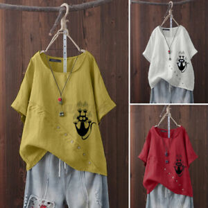 Mujer-Verano-Mangas-Cortas-Cuello-Redondo-Algodon-Camisa-Camiseta-Damas-Informal-Suelta-Prenda-para