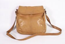 6B Damen Tasche Crossbody Bag Leder cognac braun viele Fächer Vintage Boho