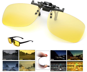 Night-Vision-Anti-Glare-Polarized-Clip-On-Flip-Up-Driving-Glasses-UV400-Lens