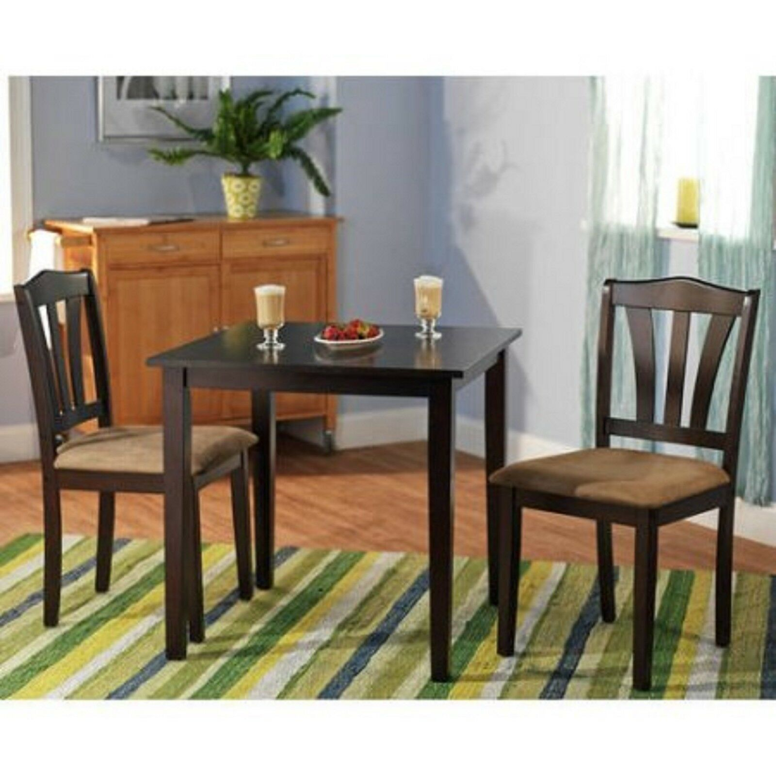 3 Pc Dining Set Table 2 Chairs Kitchen Room Wood Furniture Small Dinette Modern