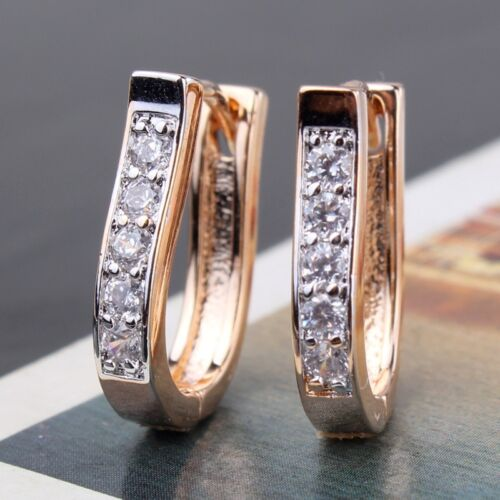 Absorbing 18k gold Platinum filled white sapphire noble COOL hoop earrings