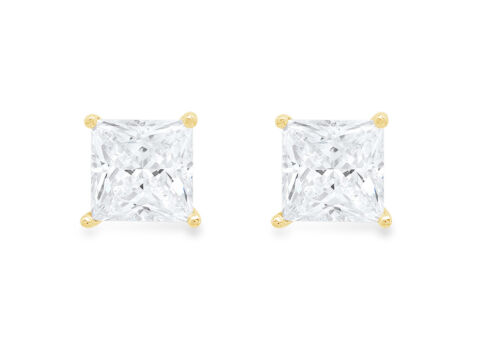 Details about  /.5ct Princess Cut Created White Sapphire Stud Earrings 14k Yellow Gold Push Back