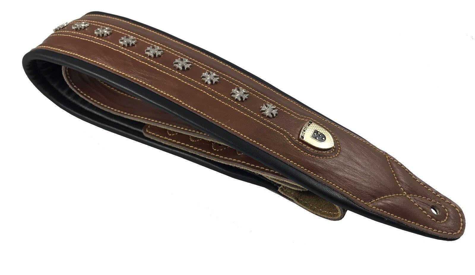 Genuine Leather Soft Padded Light Brown  IRON CROSS  SCRIPT Supreme Guitar Strap
