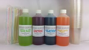 4-FLAVOURS-OF-SLUSH-SYRUPS-KIDS-COMPLETE-PACK-INC-CUPS-amp-SPOON-STRAWS