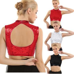 Women-Shiny-Sequins-Mock-Neck-Crop-Top-Club-Dance-Party-Camisole-Vest-Blouse-Top