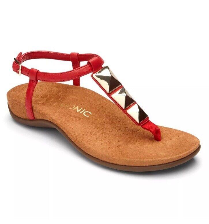 Vionic ROT Nala Sandale  - Stud Strappy Toe Post Größe 6 (39) - BRAND NEW IN BOX