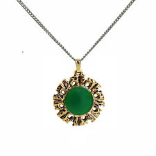 Inti Quri Golden Energy Green Enamel Inca Achala Pendant Necklace IA07