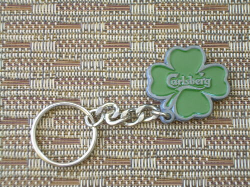 3 CARLSBERG BEER DANISH METAL GREEN SHAMROCK KEY CHAIN Irish Clover