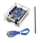 Arduino ATmega328P CH340G UNO R3 Board + USB Cable + Acrylic Box Case Kit Set