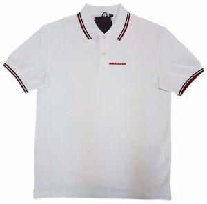 e2ae558d PRADA Men's Polo Shirt 100% Cotton White Short Sleeve New With Tag ...