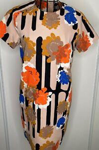 Cos-Beige-Negro-Naranja-Brillante-Floral-Vestido-Bluson-Algodon-Talla-36-Reino-Unido-10-12-Retro