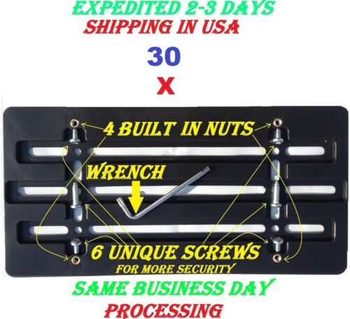 6 Unique  Screws /& Wrench NEW 30 License Plate Bumper Mount Holder Brackets