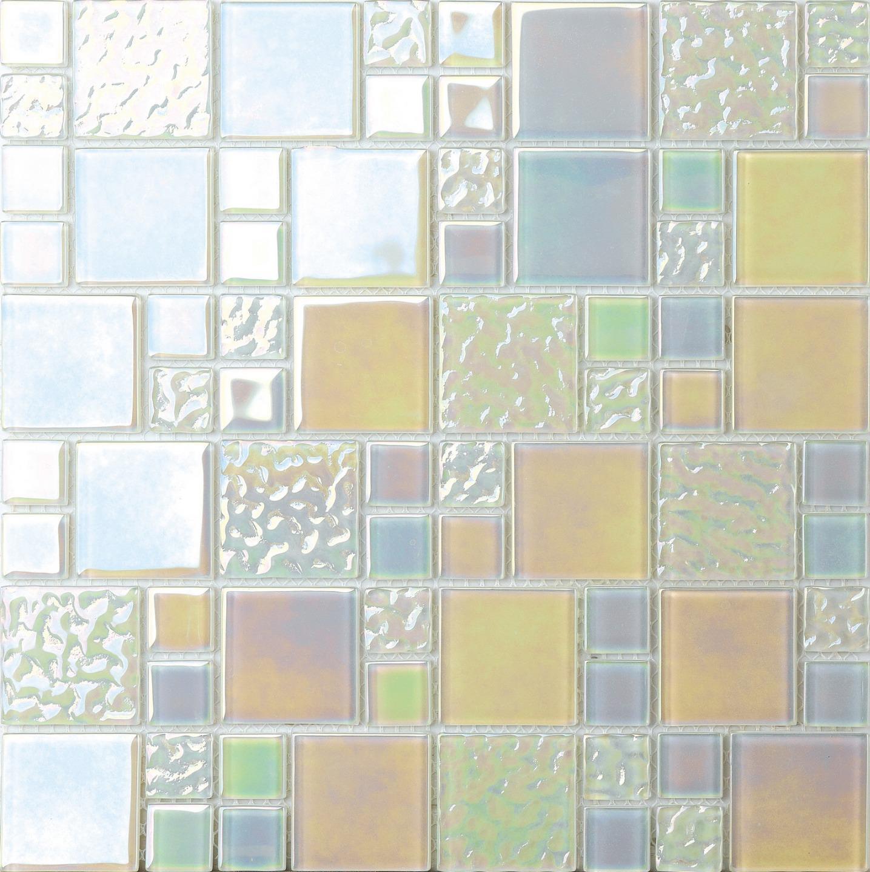 1 SQ M Weiß Iridescent Modular Mix Mosaic Tiles Sheet 0173
