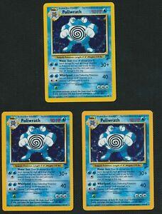 Pokemon Base Set 2 - LOT OF 3 Poliwrath Holo 15/130
