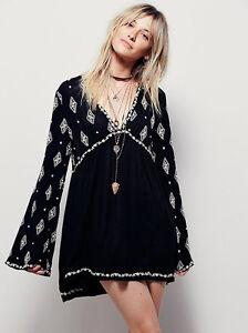 Bohemian Diamond Embroidered Top Tunic Mini Dress Boho Hippie Chic ...