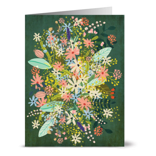 24 Note Cards Forest Green Florals Red Envs
