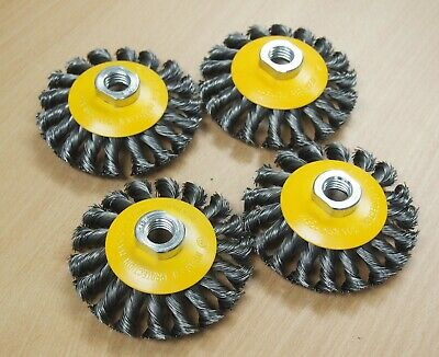 10pc Hoteche 4 Twist Wire Cup Brush 5//8-11NC Threads for Angle Grinder