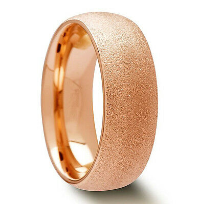 Tungsten Carbide Mens Brushed Gold Plated 8MM Wedding Band Wedding Ring M53