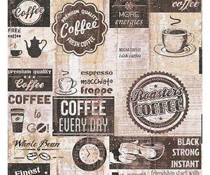 Dettagli su Carta da Parati per cucina | Caffè Vintage Brown di alta  qualità effetto legno