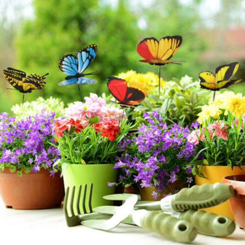 50 Pcs Garden Colorful Butterflies Stakes Patio Butterfly Ornaments On Sticks