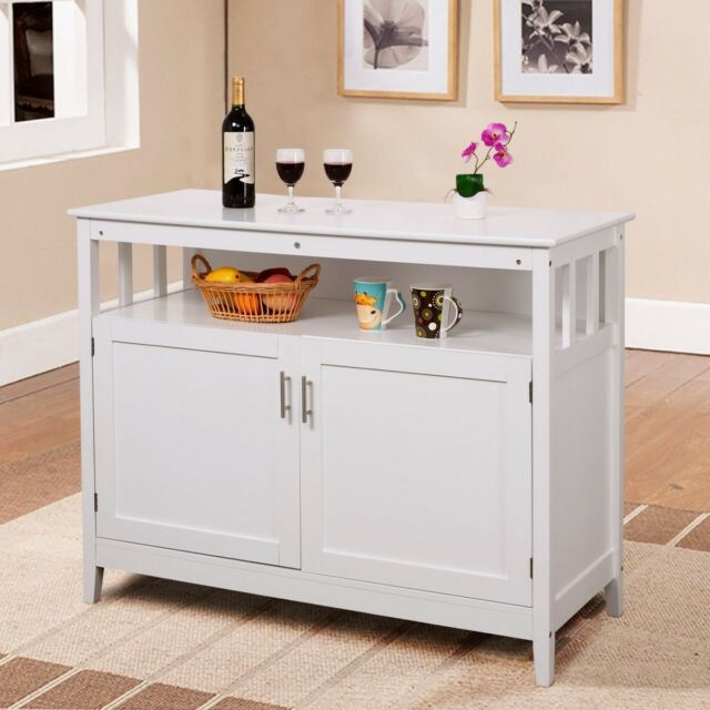 Modern Wood Kitchen Cart Island Storage Cabinet Utility Double Door Space  Saver