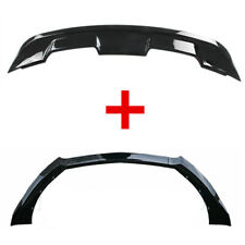 Fit For Ford Mustang 15 17 Gloss Black Front Bumper Lip Rear Trunk Spoiler Wing
