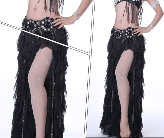 Nude color Long Leggings with Rhinestones Professional Belly Dance Costumes