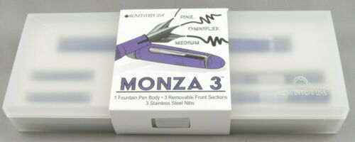 New Monteverde Monza 3 Transparent Purple /& Chrome Fountain Pen Set w//3 Nibs