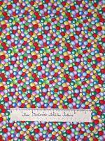 Timeless Treasures Fabric - Candy Bubblegum Gum Balls Rainbow Packed Yards