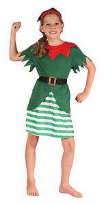 bambini-elfo-Costume-Gnomi-FOLLETTO-NATALE-ragazze-vestito-NUOVO-4-6-amp-6-8