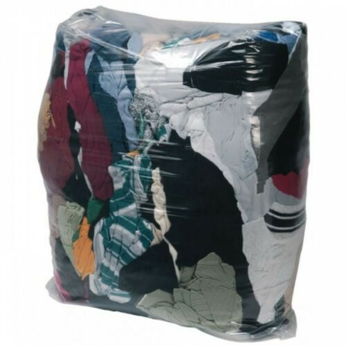 CLOTHS ONLY £25.00 3 x 10 KG BAGS OF COLOURED CLEANING RAGS WIPERS