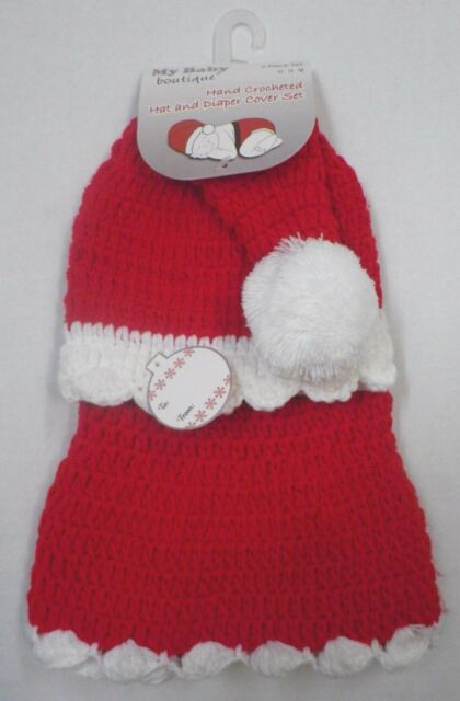 ba8a7b64b93 Baby Boutique Girls Crocheted Pom Santa Hat   Diaper Cover Skirt SET 0-9  Months