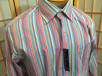 Oleg Cassini Striped Dress Shirt Mens Size L