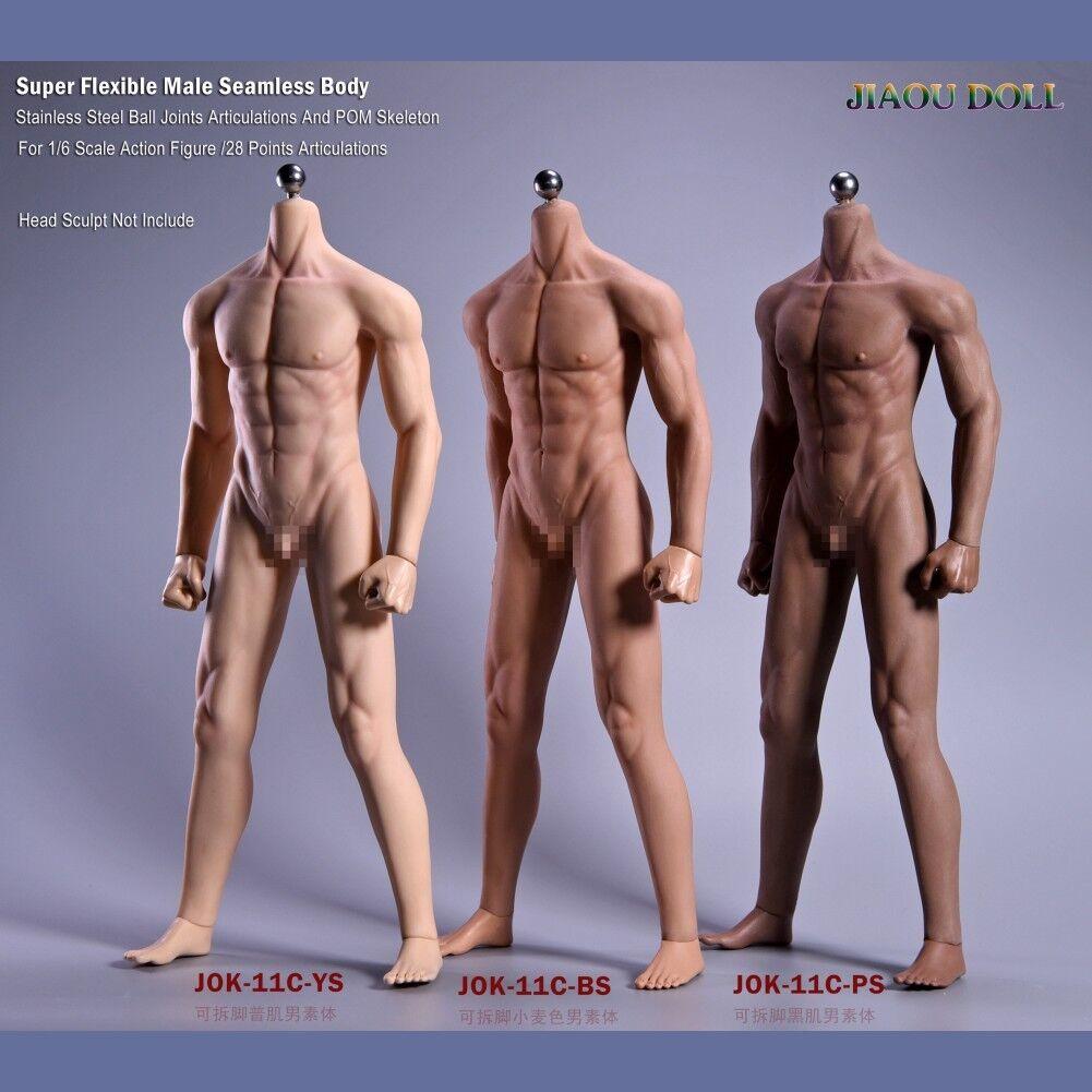 JIAOU DOLL 1/6 bianca Tan Dark Male Seamless Skeleton Body For 12'' Action Figure