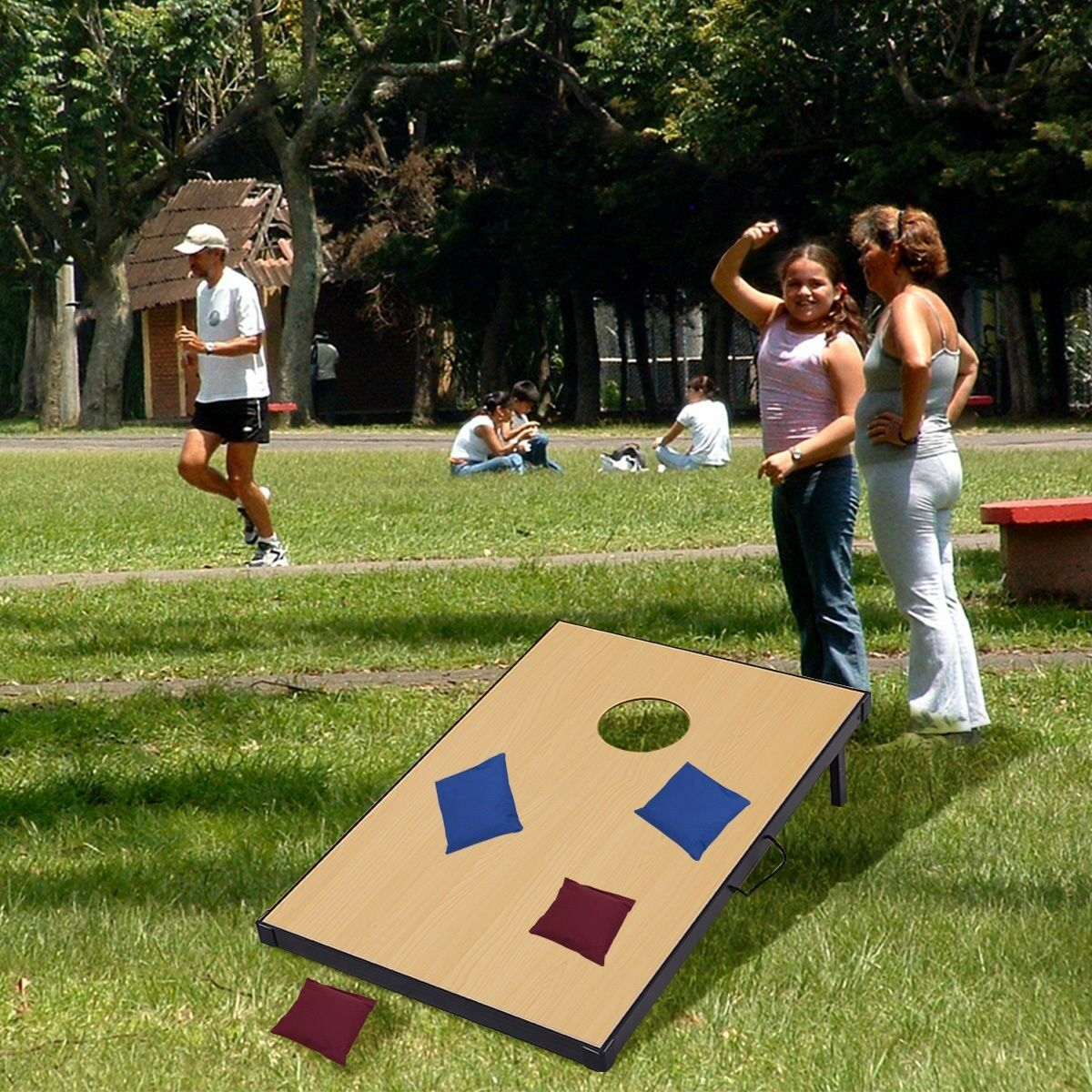 Fun 47  Foldable Wooden Bean Bag Toss  Corn Hole Game Set 2 Boards + 8 Beanbags  lightning delivery