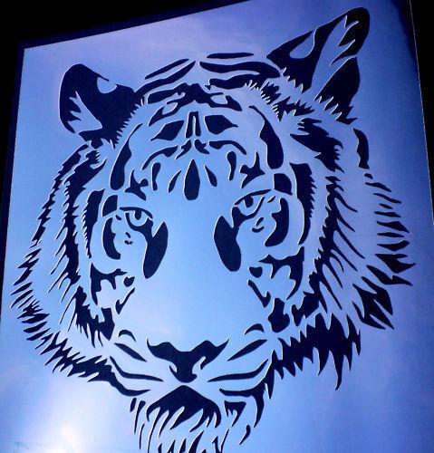 high detail airbrush stencil tiger face FREE UK  POSTAGE