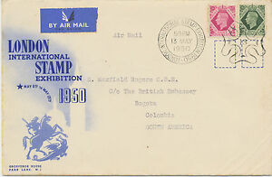2453-1950-GVI-8-D-and-9-D-VF-airmail-cover-LONDON-INTERNATIONAL-STAMP-EXHIBITION